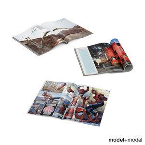 3d model open magazine comic book