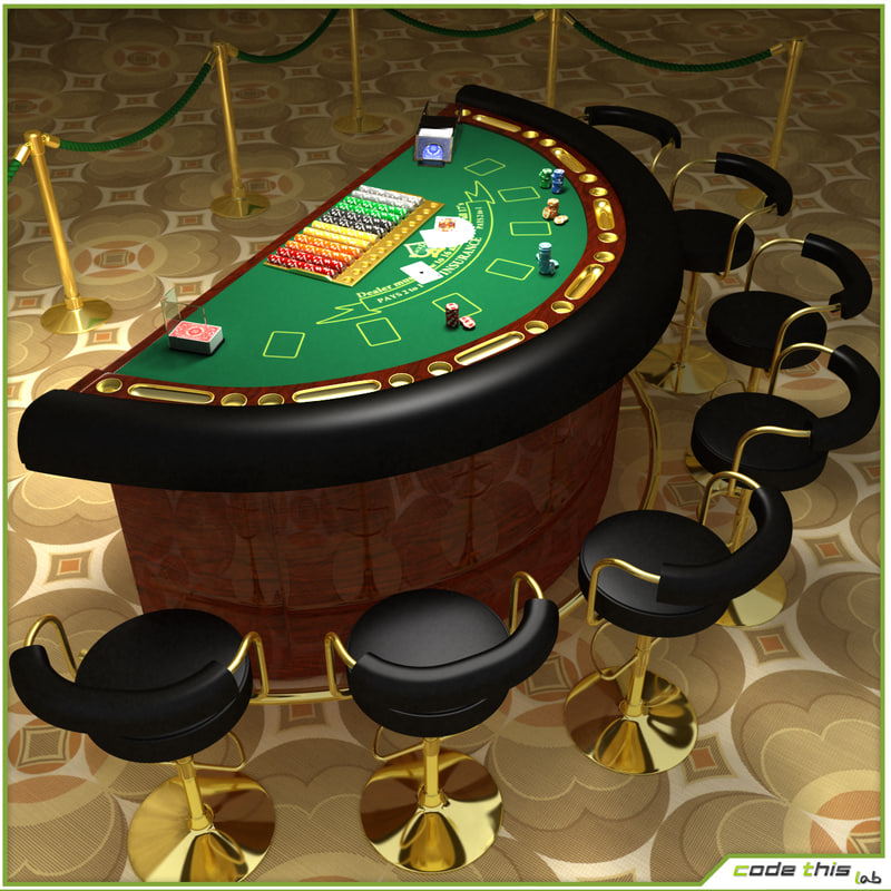 Virtual blackjack table - 3d Casino Table Blackjack Model