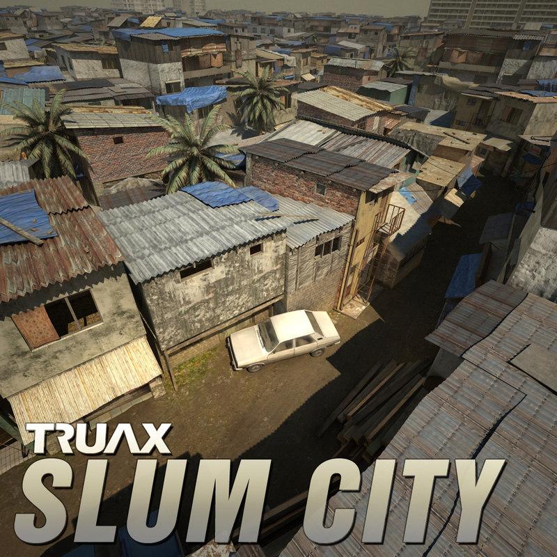 3d studio slum city model