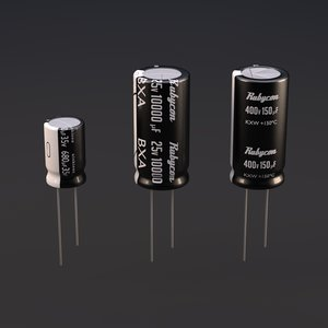 3d model kit electrolytic capacitors