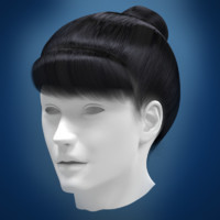 woman hair 3d obj