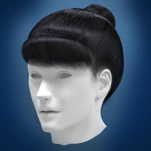 woman hair 3d obj