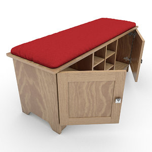 storage bench cushion 3d model
