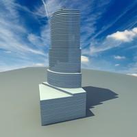 3d miami tower skyscraper architectural model