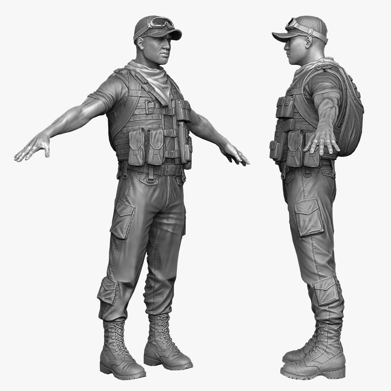 arab soldier mercenary 3d 3ds