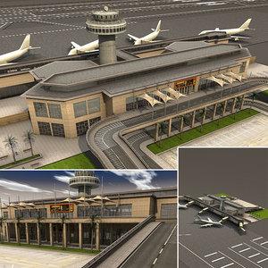 3d small airport scene