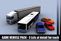 vehicles sedan bus truck 3d fbx