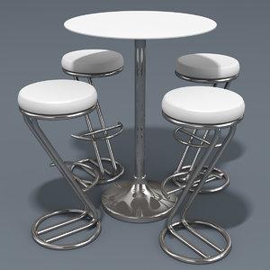 bar stool table 3d model