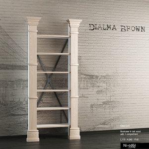 bookcase books dialma brown 3d model