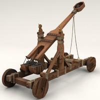 ancient norman catapult 3d model