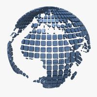 3d globe squares model