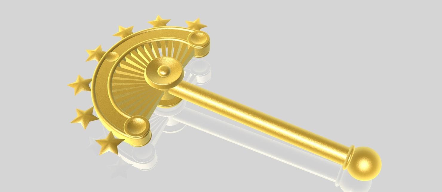 scepter gold golden 3d c4d