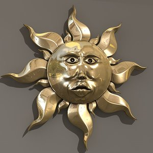 gold sun ornament c4d