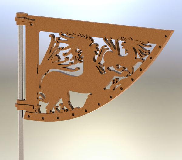 3d model celtic wind vane