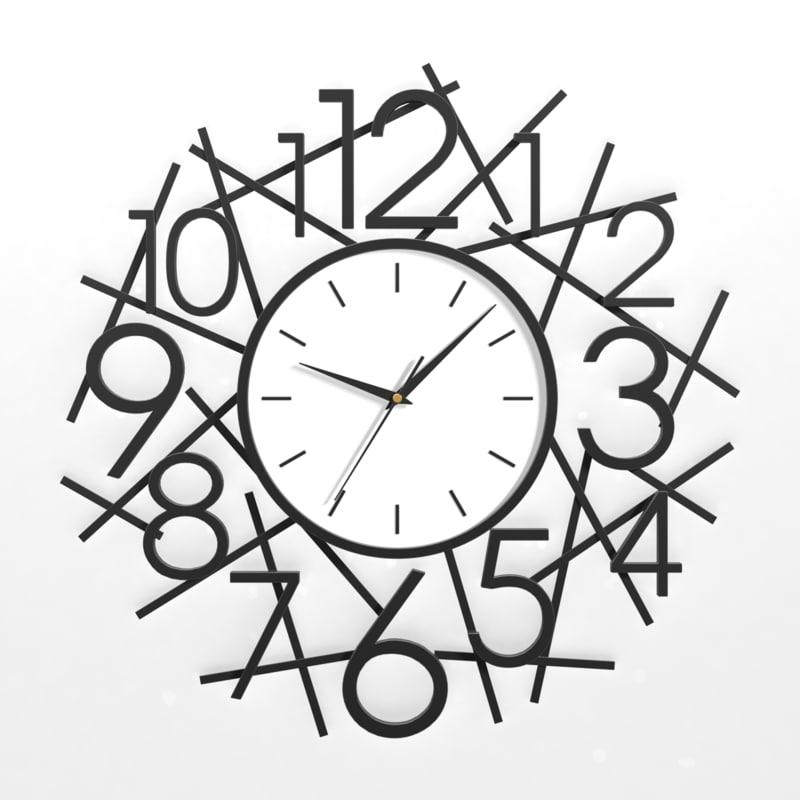 analog decorative wall clock 3d 3ds