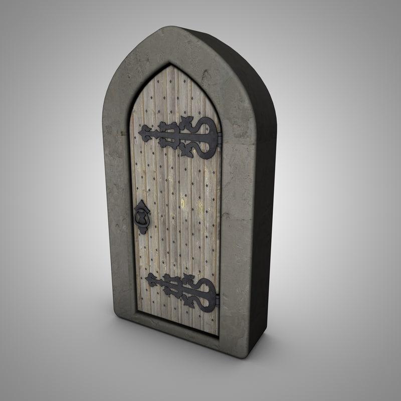 old medieval door c4d