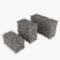 gabion stone walls 3d model