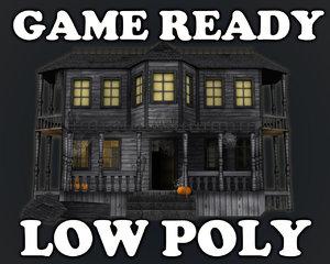 3d model house haunted halloween