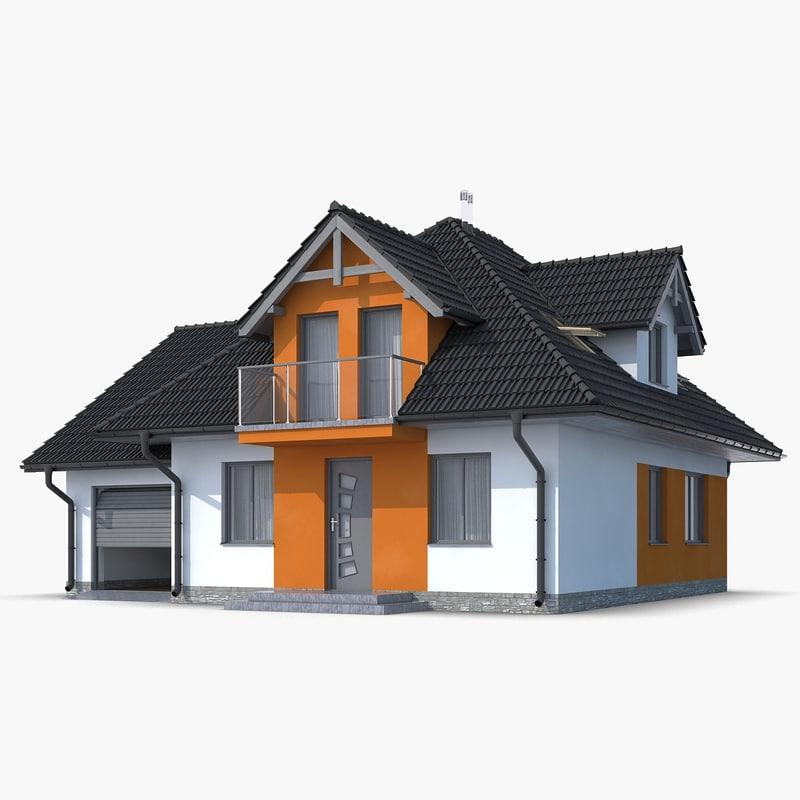 3d family house roof model - Houses attic families children ...
