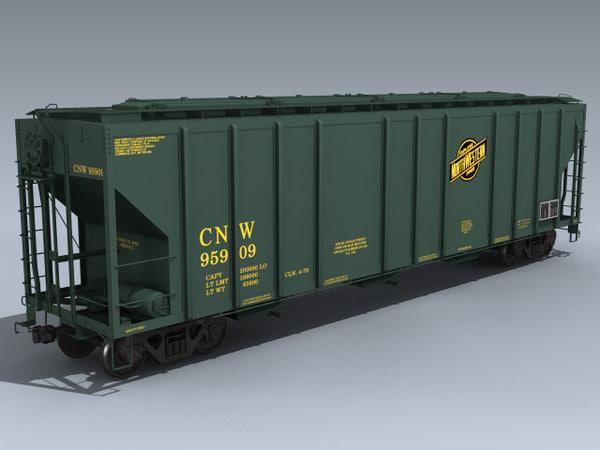 3d model pullman 4427 covered hopper