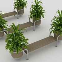 bench plants 3d 3ds