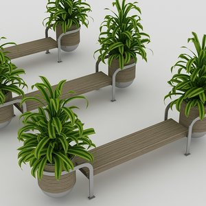 bench plants 3d 3ds