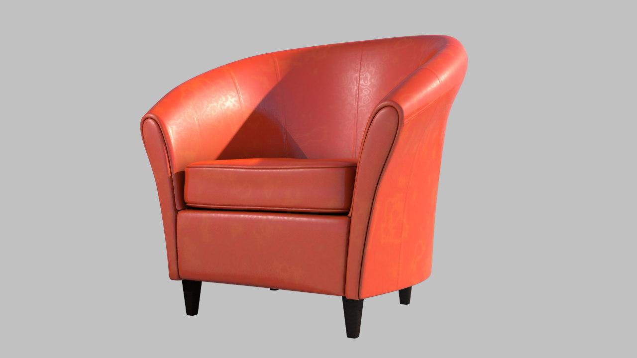 shaded orange leather obj