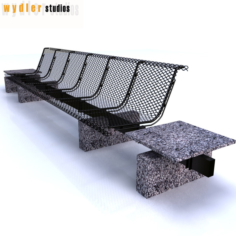 3d outdoor bench
