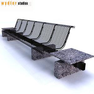 3d outdoor bench