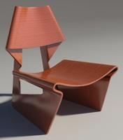 3d greette chair teak model
