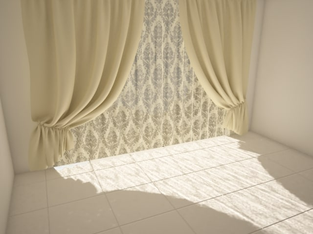 3d model curtains lace