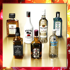 3d 7 liquor bottles