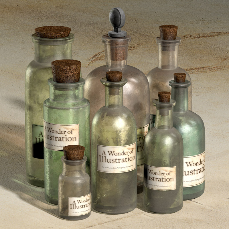 3d old apothecary bottles model