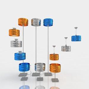 3d model of lamps artemide aqua cil