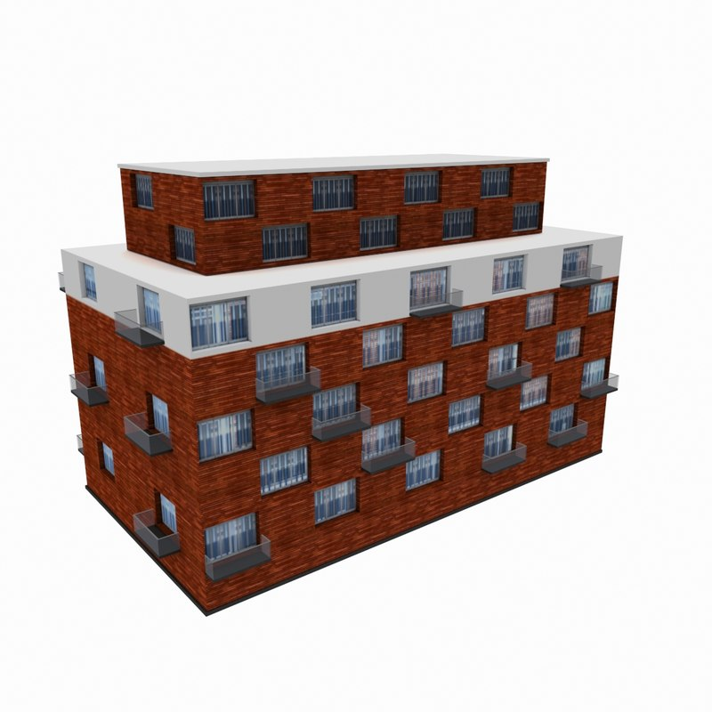 3d residential office building model