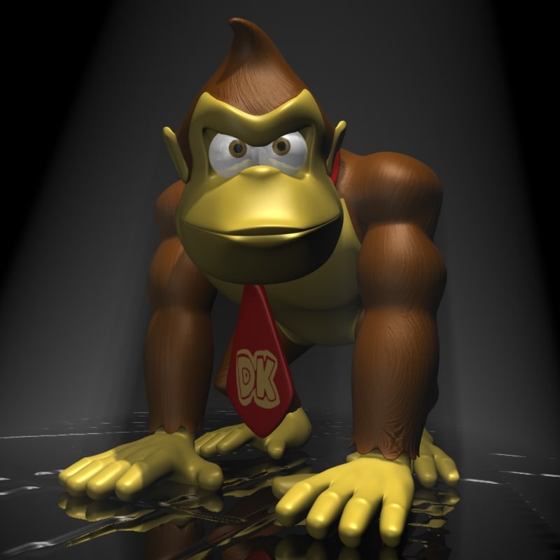 3d model of donkey kong character rigged