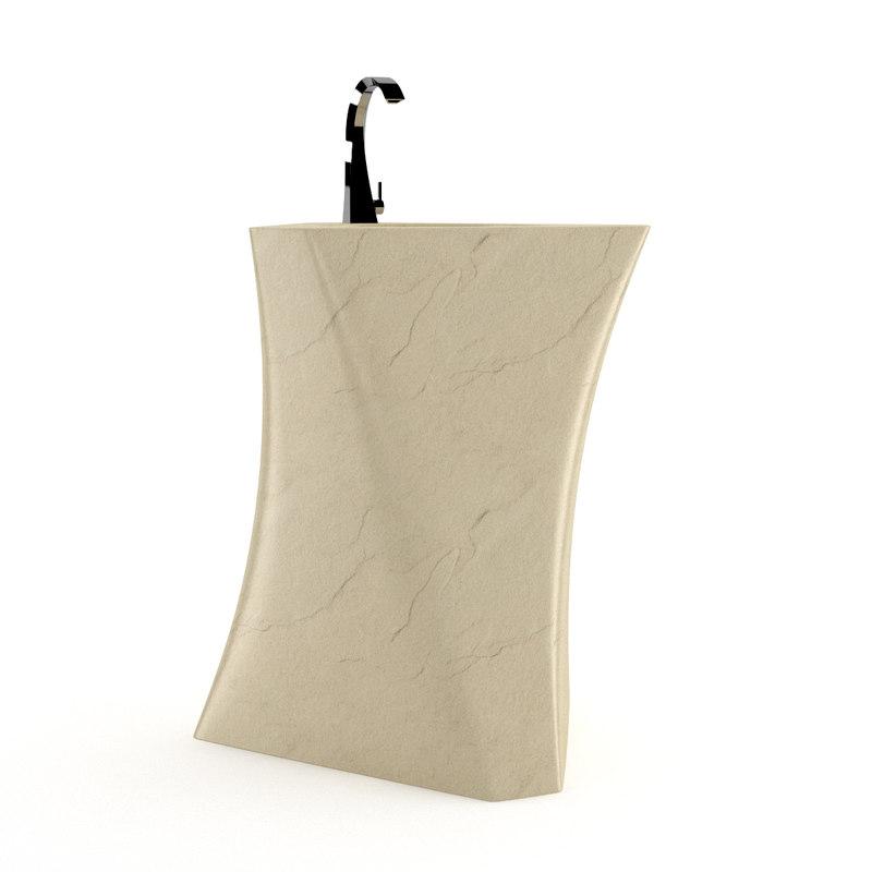 3ds max modern marble bathroom sink
