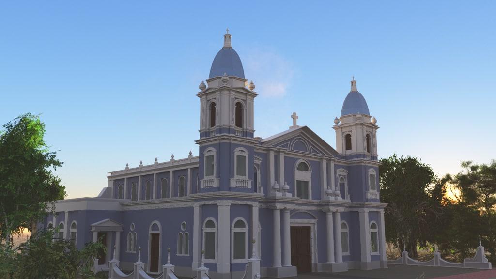 3dsmax church colonial style