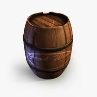 3d wine wooden barrel 2 model