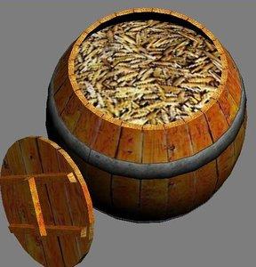 3ds wooden barrel
