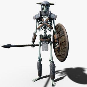 fantasy skeleton warrior 3d max