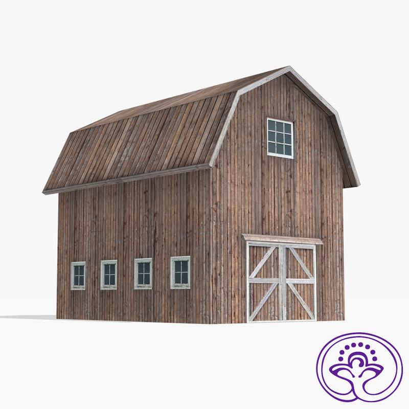 wooden barn b 3ds