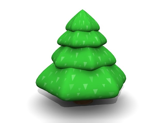 simple cartoon pine tree 3ds