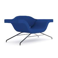 c4d blue modern armchair