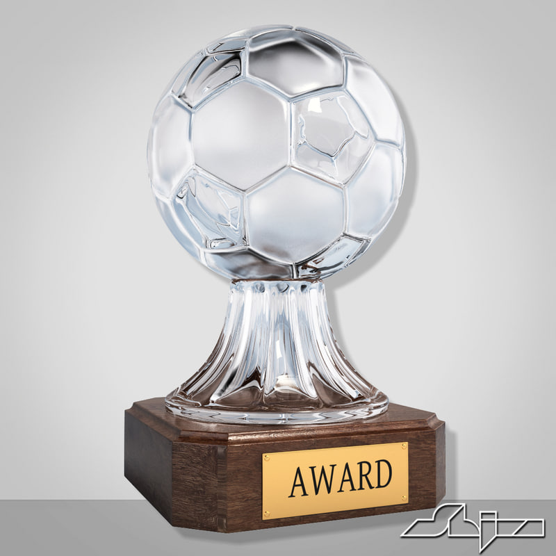 max crystal soccer award trophy