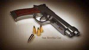 gun 9mm beretta 3d model