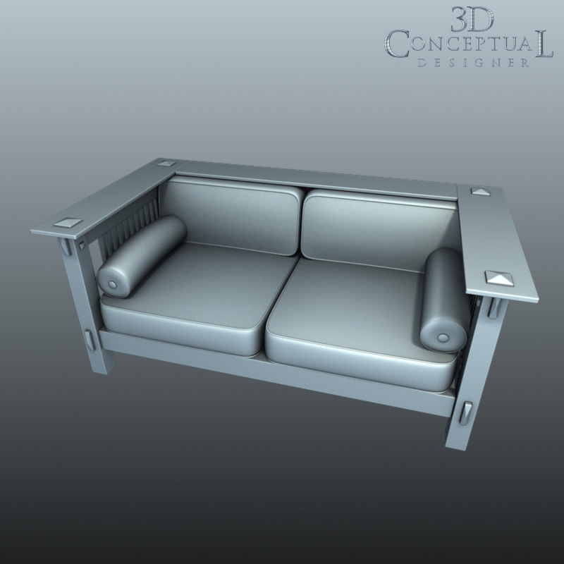 3d furniture loveseat model