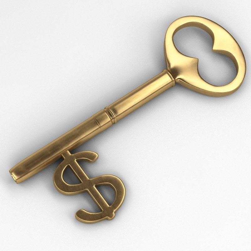 key dollar sign 3d model