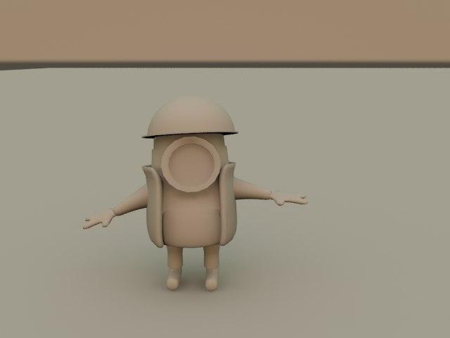3d rigged mini worker model
