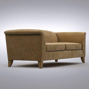 3d model crate barrel - leather sofa